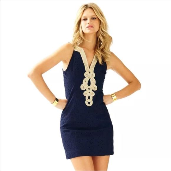 e3fac6502d1f89 NWT Lilly Pulitzer Emery Shift Dress True Navy /12.  M_5b3e7d533e0caae6e4680f03